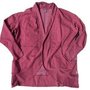 Eddie Bauer Burgundy Red Camp Fleece Wrap Cardigan